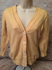 Boden Womens Cardigan Sweater Size 12 Yellow Soft V Neck 3/4 Sleeve