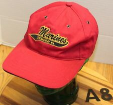 MARINES SEMPER FI HAT RED STRAPBACK ADJUSTABLE EMBROIDERED GOOD CONDITION A8