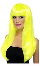 Womens Girls Yellow Babelicious Wig Long Straight Fringe Katy Perry Colour Hair