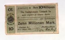 1923 Germany LIMBACH  10.000.000 / 10 Million Mark Banknote
