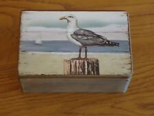 SeaGull Wooden Box Picture Treasure Chest / Sea Gull Bird / Nautical / Nice Gift