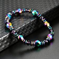 Hematite Beaded Pain Relief Healing Yoga Bracelet Unisex Natural Stone Stretch