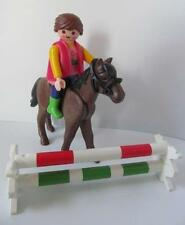 Playmobil Farm/stables: Horse & lady rider figure with cavaletti jumps NEW