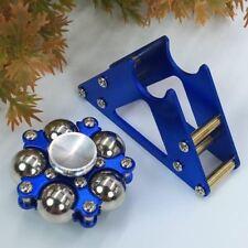 Tri Fidget Hand Spinner Triangle Brass Metal Finger Toy EDC Focus ADHD - Blue
