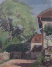 """AntiqueFrench Oil Painting on Board, """"Farmyard"""""""