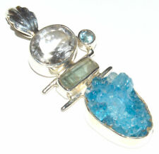 Aqua Aura Druzy 925 Sterling Silver Pendant Jewelry JB12382