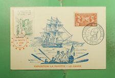 DR WHO 1957 FRANCE LE HAVRE LA FAYETTE EXPO SLOGAN CANCEL MAXIMUM CARD g19457