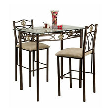 Small Kitchen Table Chairs Counter Height Bistro Breakfast Nook Glass Top