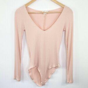 Forever 21 Light Pink Ribbed Long Sleeve Bodysuit Women's Size Medium M