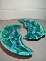 2 Vtg Nonamax Calif Pottery Greenish-Blue Ceramic serving dishes TR-666