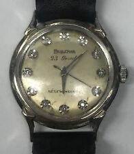 Vintage Bulova 23 Jewel Self-Winding 14K White Gold Diamond Dial Wrist Watch