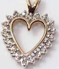14K Yellow Gold 1/4 CTW Diamond Heart Necklace Pendant Great Condition 2.1 Gram
