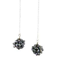 "w/ Black Freshwater Pearl Balls ""Iaj"" Sterling Silver Threader Earrings"