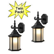 Black Outdoor Patio / Porch Exterior Light Fixtures - Twin Pack #19-2057