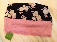 Kate Spade Posy Floral Oblong Scarf in Black w/Pink, NWT, orig$88 great buy