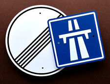 German Autobahn Signs - Set of 2 - European Racing Decor  -  Automobilia