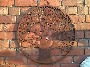 RUSTY METAL TREE BIRD WALL PLAQUE HANGING GARDEN ORNAMENT 🌳🍃🍂