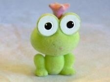 """MINATURE TOY FROG GREEN SUEDE COVERING 1-3/4"""" TALL"""