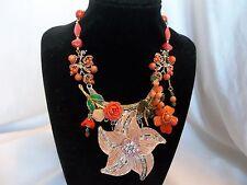 Vintage Victorian Flower Wedding Peach Coral Brooch Collage Statement Necklace