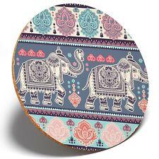 1 x Indian Lotus Elephant Ethnic - Round Coaster Kitchen Student Kids Gift #2844