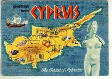A John Hinde Map Postcard of greetings from Cyprus. The Island of Aphrodite