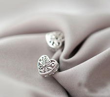S925 Sterling Silver Hollow Out Loving Heart Stud Earrings
