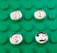 *NEW* Lego Chrome Gold Coins 1 2 5 10 Cash Rare Currency Figs Minifigs 4 pieces