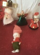 Lot of 4 Vintage Christmas Decorations/Ornaments Felt Made in Japan Angel Santa