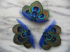 Made in UK Set 3 Paon Plume Clips Cheveux Bleu Vert Noa demoiselle d'honneur