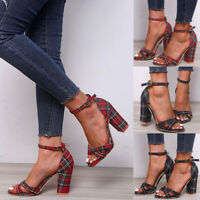 Women Chunky High Heel Open Toe Ankle Strap Plaid Sandals Casual Dress Shoes NEW