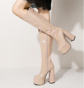 Women Block High Heel Western Cowboy Boots Gothic Mid Calf Knee High Riding Shoe