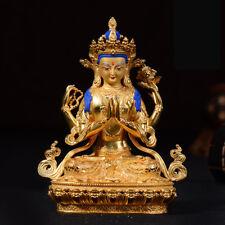 "6""Antique Tibet copper gilt gold hand painting Shadakshari Avalokitesvara statue"