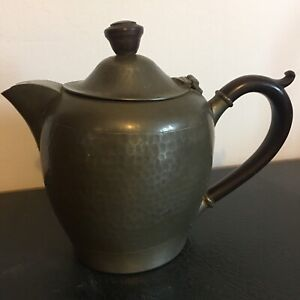Art Deco Pewter Teapot English Hammered Pewter Bakelite handles by W Wright ltd