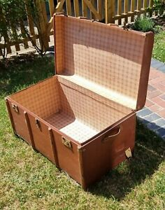 lovely vintage bentwood cabin trunk storage chest coffee new ticking linning