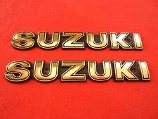 Suzuki Classic Retro Metal Tank Emblem Badge BLACK + GOLD x 2 *UK STOCK*