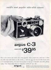 1958 Argus Camera C-3 Color Slide  PRINT AD