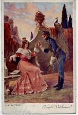 C. V. MUTTICH Corteggiamento Romanticismo Pavone PC Viaggiata 1915