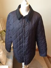 BARBOUR Navy Blue Quilted Jacket Coat Slightly Puffer Size XS Large Fitting