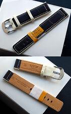Echtes-cuero relojes pulsera Designer-Braun-marfil 22 mm, acero Schl. iesse nuevo