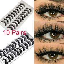 10 Pair 3D Mink False Eyelashes Wispy Cross Long Thick Soft Fake Eye Lashes UK