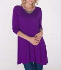 Plus Size 3X New 3/4 Sleeve Purple Long Stretch Tunic Top Shirt Blouse Dress
