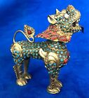 Vintage Gild Filgree Fu Foo Dog Lion W  Coral   Turquoise Inlay