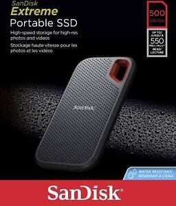 SanDisk Extreme Portatile Esterno SSD 500GB Leggere Velocità fino A 550MB/S UK