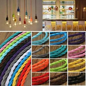 3Core Twisted Lighting Cable Silk Braided Vintage Fabric Coloured Flex 0.75mm UK
