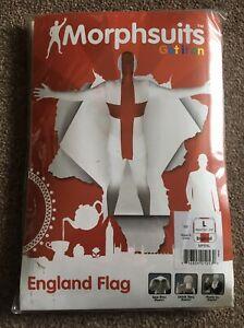 Brand New Large Morph Suit Skin Suit Fancy Dress Costume England English Flag