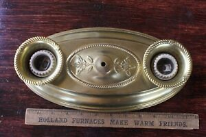 Vintage Stamped Brass Double Socket Ceiling Flush Mount  Pan Oval Light Fixture