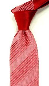 $300 ITALO FERRETTI Pleated Satin Red w Tonal Micro Check Silk Neck Tie NWT