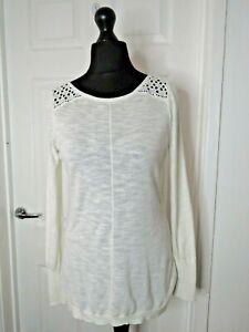 Mint Velvet Ladies White Knit Top Thin Jumper Size 10 Crochet Back Detail