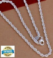"925 Sterling Silver Women's Rope Chain 20"" Link Necklace +Free GiftPkg D184"