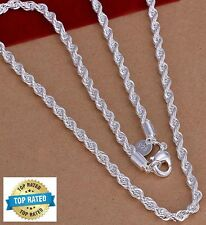 "925 Sterling Silver Women's Men's Rope Chain 22"" Link Necklace +Free Velvet D184"